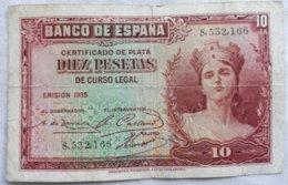 Billete 10 Pesetas. 1935. República Española. Sin Serie - 10 Pesetas