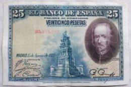 Billete 25 Pesetas. 1928. Rey Alfonso XIII. España. Calderón De La Barca - 1-2-5-25 Pesetas