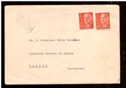 España. Sobre Sellado. 2 Sellos. Matasellos 1963. Cadiz. Tanger. - 1931-Hoy: 2ª República - ... Juan Carlos I