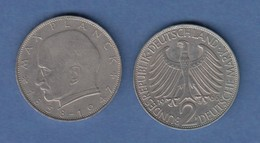 Bundesrepublik Kursmünze 2 Mark Max Planck 1966 F - Zonder Classificatie
