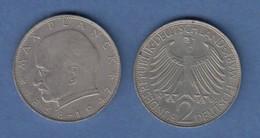 Bundesrepublik Kursmünze 2 Mark Max Planck 1968 F - Zonder Classificatie