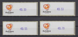 Portugal 2003 ATM Fußball EM Euro 2004 Violett Mi-Nr. 43.1f  Satz 30-47-55-70 ** - Frankeervignetten (ATM/Frama)