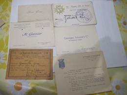 6 CARTES DE VISITES Et DIVERS    TBE - Visiting Cards