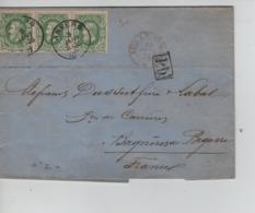 PR7558/ TP 30 (Bande De 3 ) C.Anvers 9/1/1874 Griffe PD C.de Passage Faible > Bagnères De Bigorre C.d'arrivée - 1869-1883 Léopold II