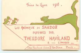 N°13604 - Foire De Lyon 1916 - Les Animaux De Sandoz Fabriques Par Theodore Haviland à Limoges - Chat - Pingouin - Pubblicitari
