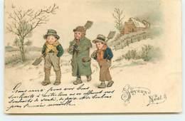N°13623 - Carte Gaufrée - Joyeux Noël - Enfants Portant Des Pelles, Et Des Fourches - Kerstmis