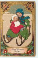 N°13625 - Carte Gaufrée - Flatscher - Loving Christmas Wishes - Fillettes Sur Une Luge - Kerstmis