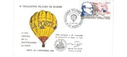 Enveloppe  / 6 ème Challenge Pilatre De Rozier  /  Dassault / Montgolfière  / 2-9-88 - FDC