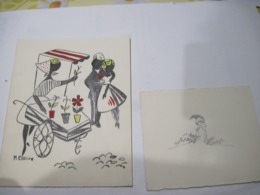 2 CARTES Une Dessin Signée M. CLAIRE 1962 + Une Faire Part De Naissance De 1953   TBE - Cartes