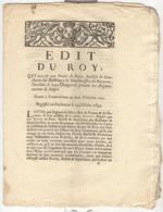 Edit Du Roy + Arrêt D'application 1693 - Accorde Aux Prêvots De Paris L'Hérédité De Leurs Charges - Decrees & Laws