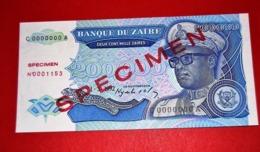 ZAIRE 200.000 ZAIRES - 1-3-1992 SPECIMEN * UNC BANKNOTE - Zaire