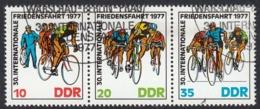 DDR - 1977 -  Trittico Obliterato Yvert 1894A Costituito Da Serie Completa Yvert 1892/1894 - Corsa Ciclistica Internazio - Usati