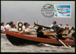 Mk Faroe Islands Maximum Card 1989 MiNr 186 | Sports, Rowing - Faeroër