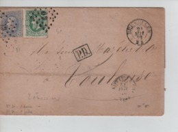 PR7559/ TP 30-31 S/LSC C.BXL 24/5/1872 LOS 60 Griffe P.D.Marque D'entrée > Toulouse C.d'arrivée & D'ambulant - Postmarks - Points