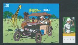Timbre Non Dentelé Tintin Bloc 93 + Timbre Congo Cote 90 € - Belgium