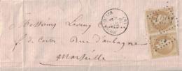 BASSES ALPES - FORCALQUIER - EMPIRE - N°28 EN PAIRE OBLITERATION GC - CACHET TYPE 16 - 4 AOUT 1869. - Marcophilie (Lettres)