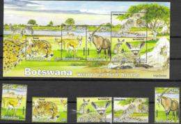 BOTSWANA, 2019, MNH, WETLANDS FAUNA, NXAI PANS, BIRDS, CHEETAHS, ZEBRAS, FOXES, ANTELOPES, 5v+SHEETLET - Birds