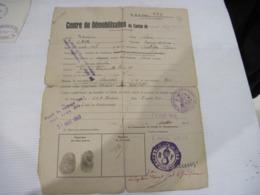 DOCUMENT DE DEMOBILISATION 1940   TBE - Documents