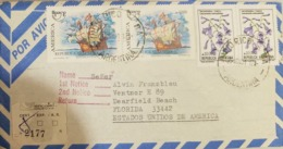 O) 1991 CIRCA - ARGENTINA, AMERICA UPAEP - MAGELLAN'S CARAVEL, JACARANDA FLOWER, FROM ENCOTEL TO USA - Argentine