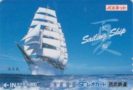 Carte Prépayée Japon - BATEAU VOILIER -  SAILING SHIP - Japan Prepaid Passnet Lion  Card - SCHIFF - 172 - Boats