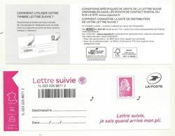 MARIANNE L'ENGAGEE  LETTRE SUIVIE TP N° 1656A  /FEUILLET N° LS8  COTE 8 EUROS. - Francia