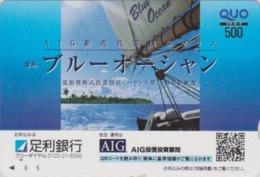 Carte Prépayée Japon - BATEAU VOILIER ** BLUE OCEAN ** -  SAILING SHIP - Japan Prepaid QUO Card  - SCHIFF -  174 - Boats