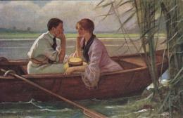 AK Aug' In Aug' - W. Menzler - Liebespaar In Ruderboot - Galerie Münchner Meister - Ca. 1910 (44744) - Coppie