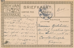 Nederlands Indië - 1924 - 12,5 Cent Opdruk Op 17,5 Cent Wilhelmina Op Ansicht Van LB TJITJOEROEG Naar Constantinopel - Nederlands-Indië