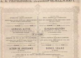 Titre Ancien - Société Impériale Royale Privilégiée Des Chemins De Fer Du Sud De L'Autriche - Titre De 1886 - - Chemin De Fer & Tramway