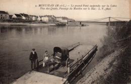 Montjean Animée Belle Vue Du Pont Sur La Loire Les Quais Le Bac Attelage âne Chantier Marine - Frankrijk