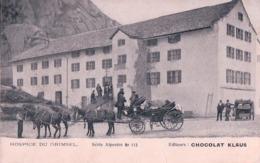 Carte Postale Publicité, Chocolat  KLAUS, Hospice Du Grimsel BE, Attelage (27.12.1906) - BE Berne