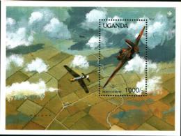 7714) Uganda 777 Sheet,.Michel 782 Bl.111. WW II Milestones,1990.Battle Of Britain. MNH** - Uganda (1962-...)
