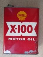 BIDON HUILE ANCIEN VIDE SHELL X-100 MOTOR OIL 2 LITRES - Cars