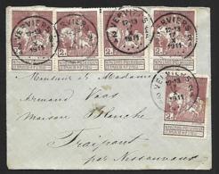 89 (x5) Sur Lettre De Verviers 2A Du 17-X-1911 Vers Fraipont Par Nessonvaux Port 10 Cts (Lot Nic 816) - 1910-1911 Caritas