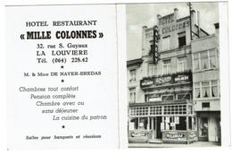 Calendrier De Poche - 1961 - Hôtel Restaurant Mille Colonnes La Louvière - Propr. M. & Mme De Nayer-Bredas - 2 Scans - Petit Format : 1961-70
