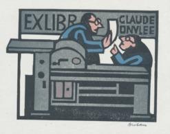 Ex Libris Claude Onvlee - Door Henk Blokhuis (1936-...) Gesigneerd - Ex-libris