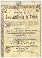 Titre Ancien - Fabrique De Soie Artificielle De Tubize - Société Anonyme  Titre De 1921 - Textile