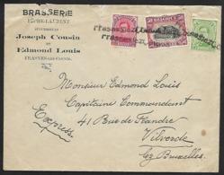137, 138 Et 144 Sur Lettre Express -Timbres Annulés Par La Griffe De Fortune De Frasnes-lez-Couvin (Lot Nic 817) - 1915-1920 Alberto I