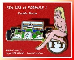 SUPER PIN'S PIN-UPS, FORMULE 1 : Double Moule En ZAMAC Base Or Signé JFG MIAMI, F1 Verte,  Format 3,8X3cm - Pin-ups