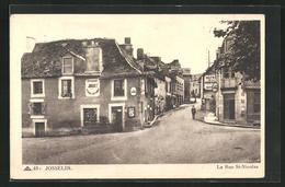 CPA Josselin, La Rue St-Nicolas, Blick In Die Strasse - Josselin