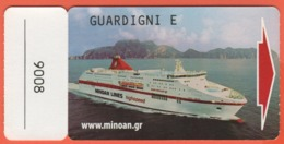 MINOAN LINES - CRUISE EUROPA - CABIN KEY CARD - Hotelkarten