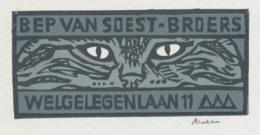 Kleingrafiek Ex Libris Bep Van Soest-Broers - Henk Blokhuis (gesigneerd) - Chat Cat Kat - Ex-libris