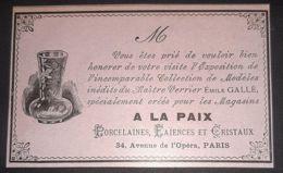 1897 GALLE EMILE INVITATION EXPOSITION COLLECTION INEDITS DU MAITRE VERRIER MAGASIN LA PAIX PUBLICITE ANCIENNE - Publicités