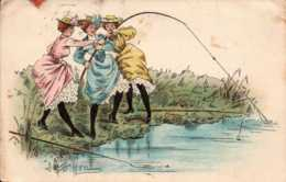 Cpa Trois Femmes à La Peche , F.Chamouin  (11176) - Illustrateurs & Photographes