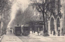 Nice France, Avenue De La Gare Notre-Dame With Street Cars C1900s/10s Vintage Postcard - Transport (road) - Car, Bus, Tramway