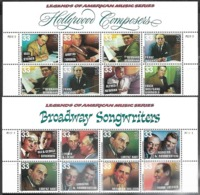 US   1998   Sc#3339-50  32c Composers & Songwriters Blocks Of 8 With Headers MNH - United States