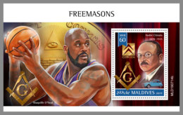 MALDIVES 2019 MNH Freemasons Freimaurer Francs-macons S/S - IMPERFORATED - DH1942 - Freimaurerei