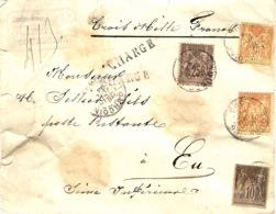 1894- Enveloppe CHARGE - V D 3000 F. Affr. Sage 40 X2 +25 +10 De Tourcoing Pour Eu - Marcophilie (Lettres)