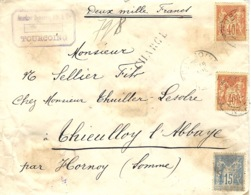 1894- Enveloppe CHARGE - V D 2000 F. Affr. Sage 40 X2 + 15 De Tourcoing Pour Hornoy ( Somme ) - Marcophilie (Lettres)