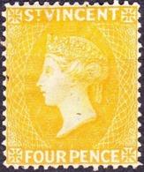ST VINCENT 1869 QV 4d Yellow SG12 MH - St.Vincent (...-1979)